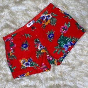 Old Navy Red/Orange Floral Shorts Sz 2